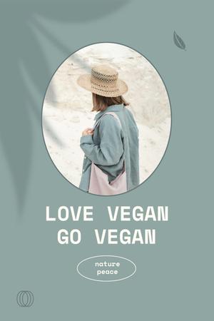 Vegan Lifestyle Concept with Girl in Summer Hat Pinterest Modelo de Design