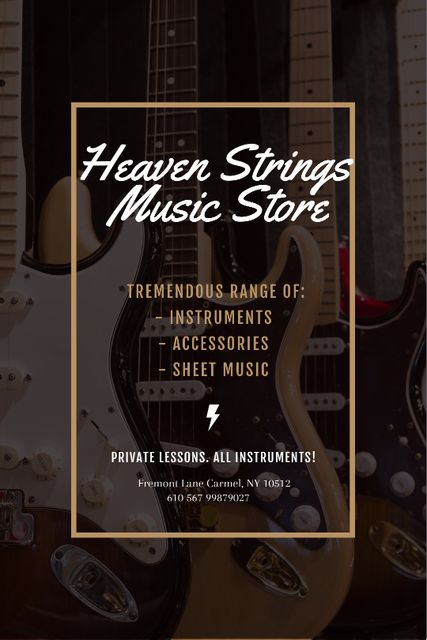 Template di design Guitars in Music Store Tumblr