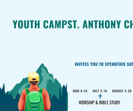 Plantilla de diseño de Youth Religion Camp invitation with boy in Mountains Facebook