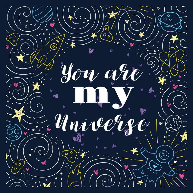 Ontwerpsjabloon van Instagram van Love Quote in Stars and Space Frame
