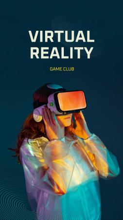 Plantilla de diseño de Virtual Reality Game Club Ad with Woman in Glasses Instagram Story