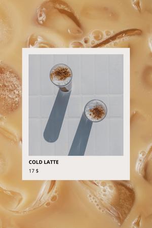 Fresh Cold Latte in Glasses Pinterestデザインテンプレート