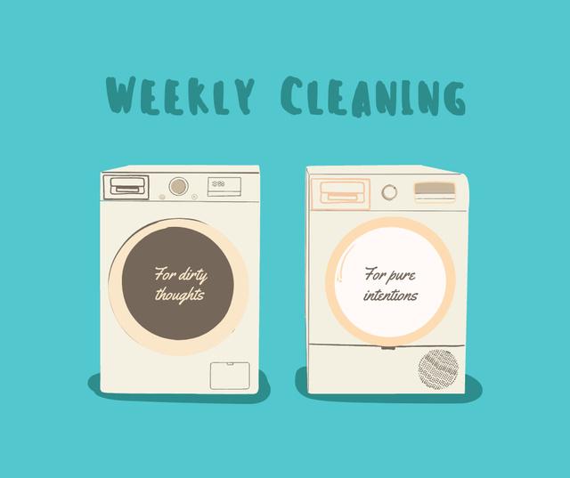 Plantilla de diseño de Washing Machines with ironical tags Facebook