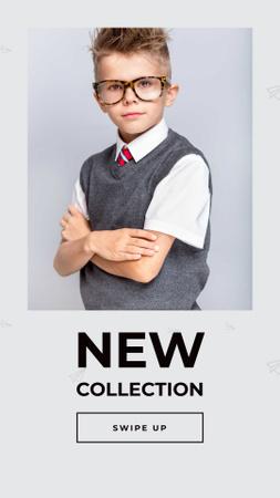 New Kid's Fashion Collection Announcement Instagram Story Modelo de Design