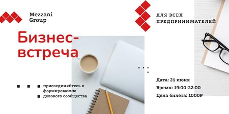 Business Meetup with Tablet and Coffee on Table Twitter – шаблон для дизайна