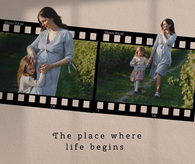 Happy Pregnant Mom walking with Daughter in Garden Facebook Modelo de Design