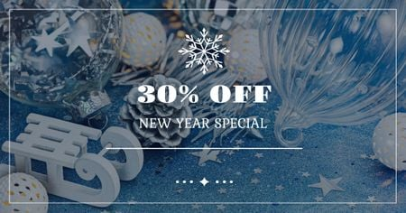 Plantilla de diseño de New Year Special Offer with Festive Decoration Facebook AD