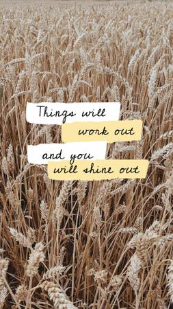 Designvorlage Inspirational Citation with Wheat Field für Instagram Story