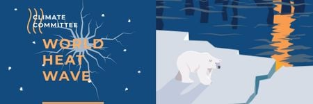 Modèle de visuel Climate Change with Polar Bear on Ice - Email header