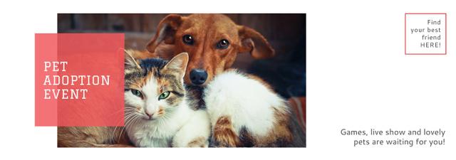 Pet Adoption Event Dog and Cat Hugging Tumblr Tasarım Şablonu