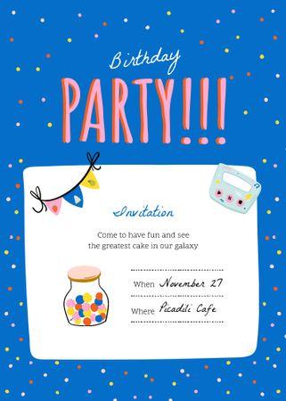 Ontwerpsjabloon van Invitation van Birthday Celebration Announcement with Party Decorations
