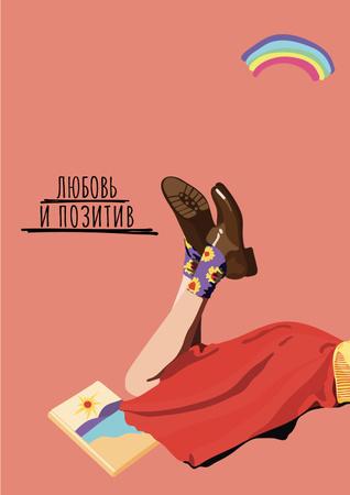 Inspirational Phrase with Cute Female Legs Poster – шаблон для дизайна