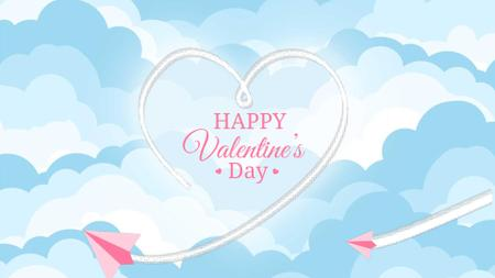 Plantilla de diseño de Valentine's Day Plane drawing Heart Full HD video