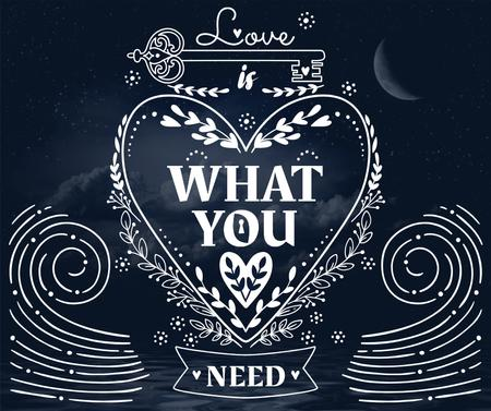 Ontwerpsjabloon van Facebook van Love Quote in Heart on Sea at Night