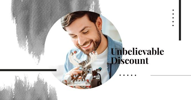 Discount Offer with Man holding Robot Facebook ADデザインテンプレート