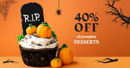 Ontwerpsjabloon van Facebook AD van Halloween Desserts Offer with Pumpkin Cookies