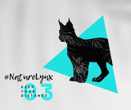 Modèle de visuel Fauna Protection with Wild Lynx Silhouette - Facebook