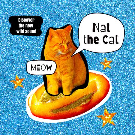 Funny Cat flying on Bread Album Coverデザインテンプレート