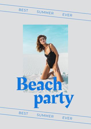 Summer Beach Party Announcement with Woman in Swimsuit Poster Modelo de Design