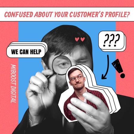 Ontwerpsjabloon van Instagram van Funny Joke about Customer's Profile