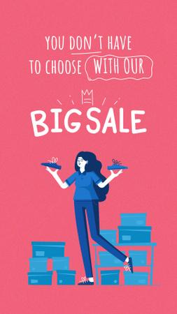 Plantilla de diseño de Woman shopping at Sale Instagram Story