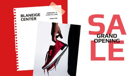 Shoes Sale Sportsman Holding Sneakers FB event cover Design Template