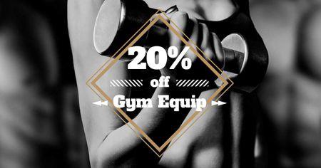 Designvorlage Gym Equipment Discount Offer with Athlete Woman für Facebook AD