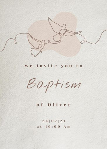 Child's Baptism Announcement With Pigeons Illustration