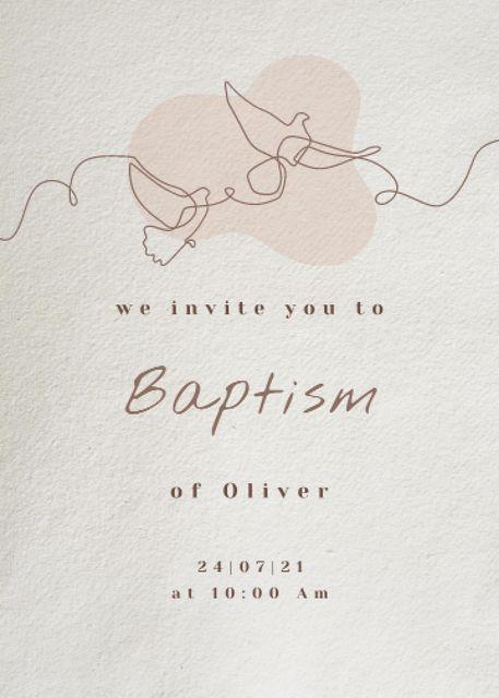 Child's Baptism Announcement with Pigeons Illustration Invitation tervezősablon