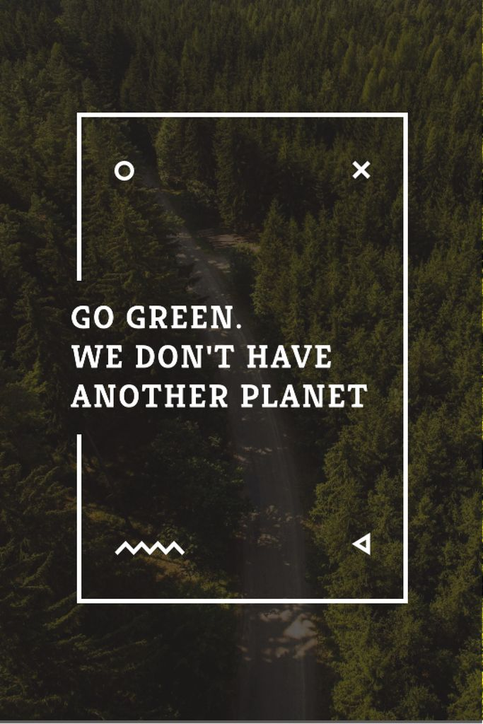 Ecology Quote with Forest Road View — Maak een ontwerp