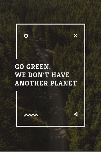 Ecology Quote with Forest Road View Tumblr – шаблон для дизайна
