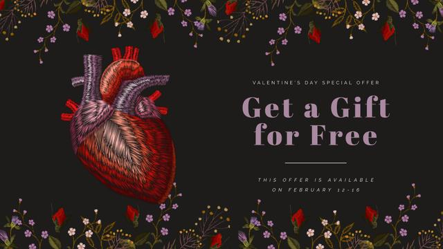 Template di design Valentine's Card with Heart in Flowers Full HD video