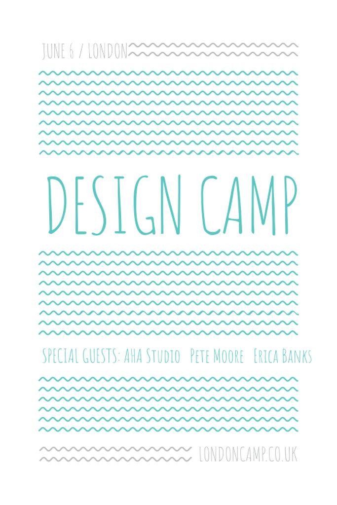 Design camp announcement on Blue waves Tumblr – шаблон для дизайна