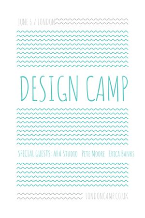 Plantilla de diseño de Design camp announcement on Blue waves Tumblr