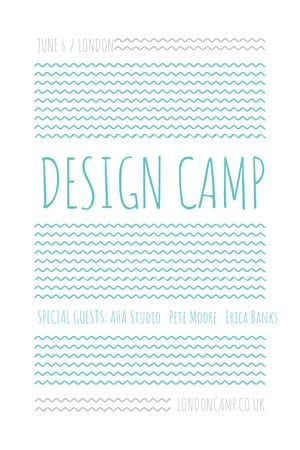 Designvorlage Design camp announcement on Blue waves für Tumblr