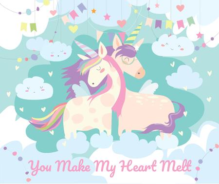 Ontwerpsjabloon van Facebook van Loving magical Unicorns in Clouds