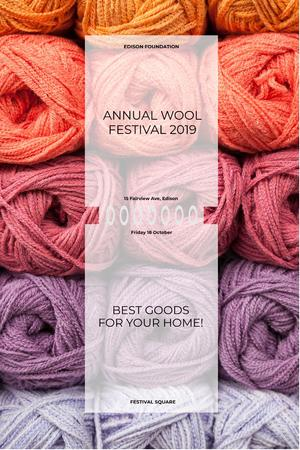 Knitting Festival Invitation with Wool Yarn Skeins Pinterestデザインテンプレート