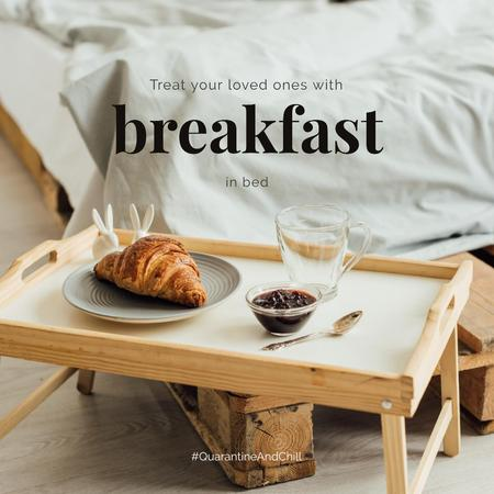 Designvorlage #QuarantineAndChill Sweet breakfast on wooden tray für Instagram