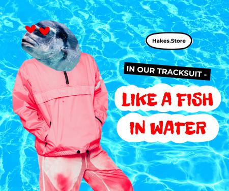 Modèle de visuel Funny Illustration of Stylish Man with Fish Head - Facebook
