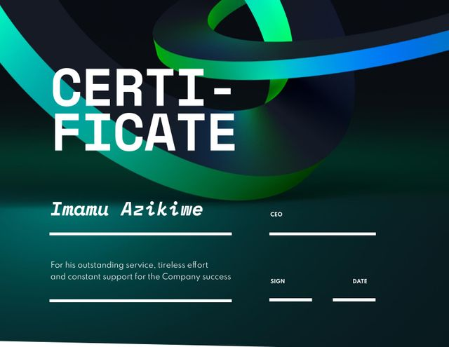 Business Achievement Award with Abstract Illustration Certificate Modelo de Design