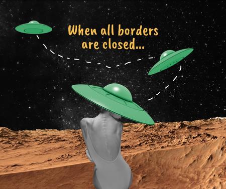 Funny Illustration with Woman in UFO hat Facebook Modelo de Design