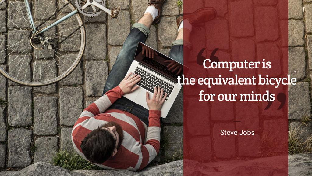 Template di design Motivational quote with young man using laptop Youtube