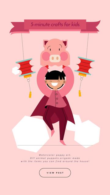 Plantilla de diseño de Crafts for Kids Guide Girl in Pig Costume Instagram Video Story