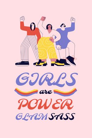 Girl Power Inspiration with Women on Riot Tumblr Design Template