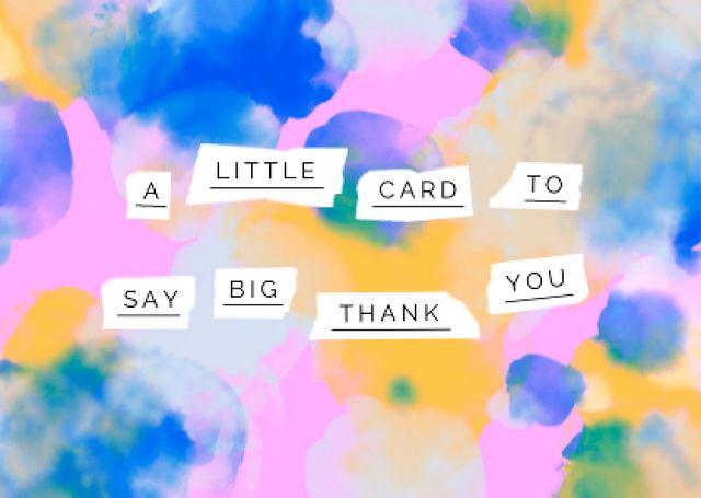 Thankful Phrase on Bright Watercolor Pattern Card – шаблон для дизайна