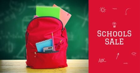 Back to School Sale with Backpack in Classroom Facebook AD Design Template