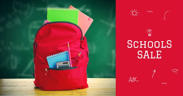 Back to School Sale with Backpack in Classroom Facebook AD Modelo de Design