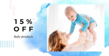 Baby Products Offer with Mother holding Baby