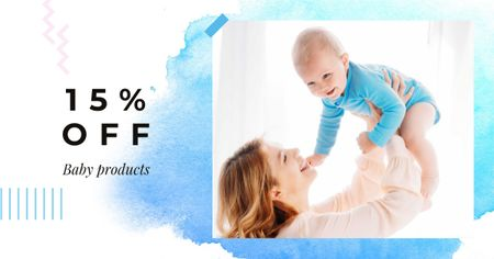 Plantilla de diseño de Baby Products Offer with Mother holding Baby Facebook AD