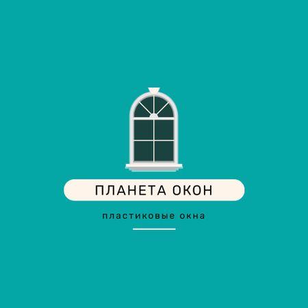 Window Installation Services Ad in Blue Logo – шаблон для дизайна